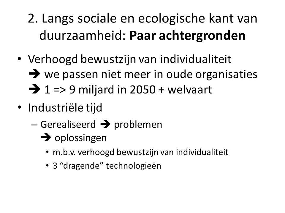 • Verhoogd bewustzijn van individualiteit  we passen niet meer in oude organisaties  1 => 9 miljard in 2050 + welvaart • Industriële tijd – Gerealiseerd  problemen  oplossingen • m.b.v.