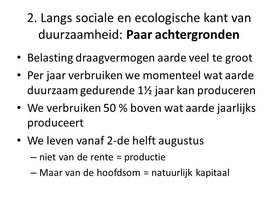 • Belasting draagvermogen aarde veel te groot • Per jaar verbruiken we momenteel wat aarde duurzaam gedurende 1½ jaar kan produceren • We verbruiken 50 % boven wat aarde jaarlijks produceert • We leven vanaf 2-de helft augustus – niet van de rente = productie – Maar van de hoofdsom = natuurlijk kapitaal 2.