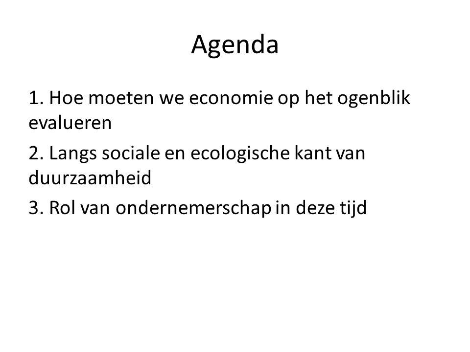 Agenda 1. Hoe moeten we economie op het ogenblik evalueren 2.