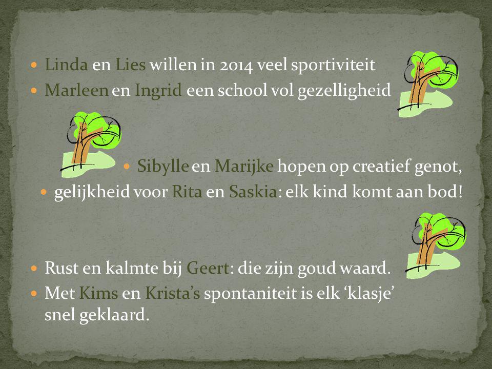  Linda en Lies willen in 2014 veel sportiviteit  Marleen en Ingrid een school vol gezelligheid  Sibylle en Marijke hopen op creatief genot,  gelijkheid voor Rita en Saskia: elk kind komt aan bod.