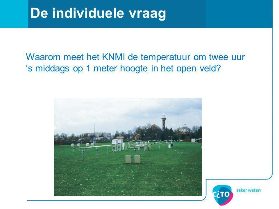 De individuele vraag Waarom meet het KNMI de temperatuur om twee uur 's middags op 1 meter hoogte in het open veld