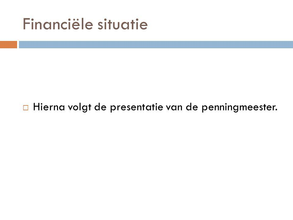 Financiële situatie  Hierna volgt de presentatie van de penningmeester.