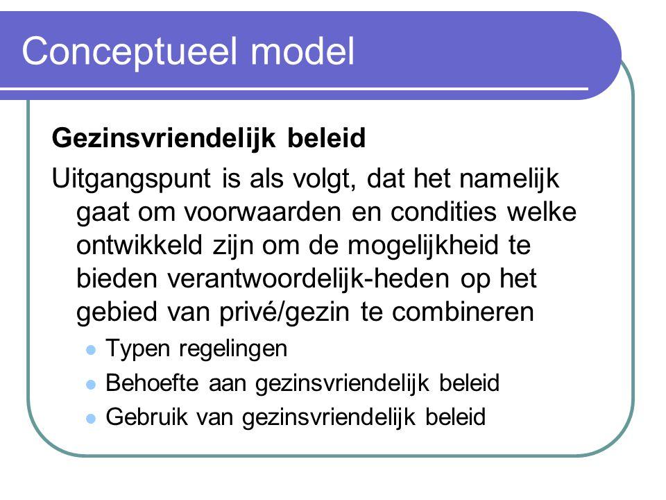 Conceptueel model Gezinsvriendelijk beleid Uitgangspunt is als volgt, dat het namelijk gaat om voorwaarden en condities welke ontwikkeld zijn om de mo