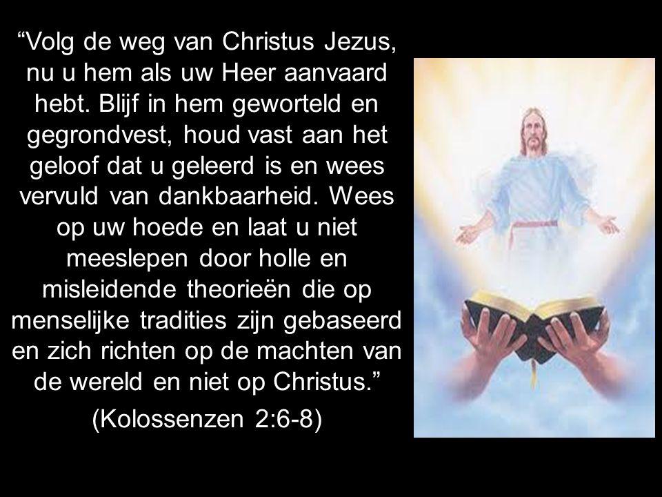 """""""Volg de weg van Christus Jezus, nu u hem als uw Heer aanvaard hebt. Blijf in hem geworteld en gegrondvest, houd vast aan het geloof dat u geleerd is"""