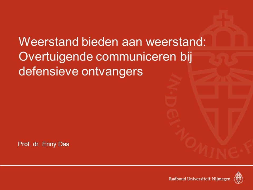 Weerstand bieden aan weerstand: Overtuigende communiceren bij defensieve ontvangers Prof. dr. Enny Das