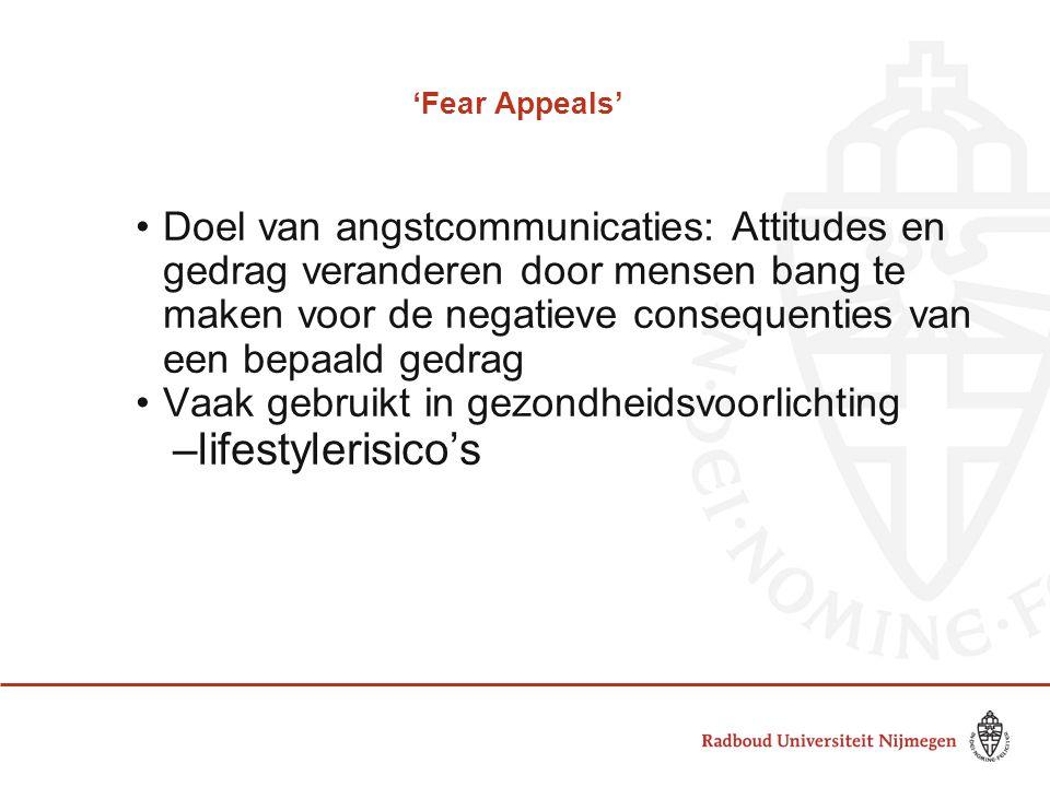 'Fear Appeals' •Doel van angstcommunicaties: Attitudes en gedrag veranderen door mensen bang te maken voor de negatieve consequenties van een bepaald