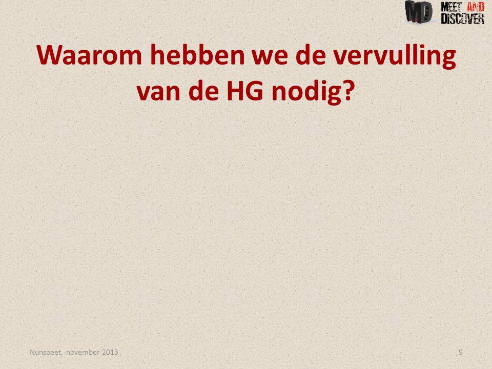 Waarom hebben we de vervulling van de HG nodig Nunspeet, november 20139