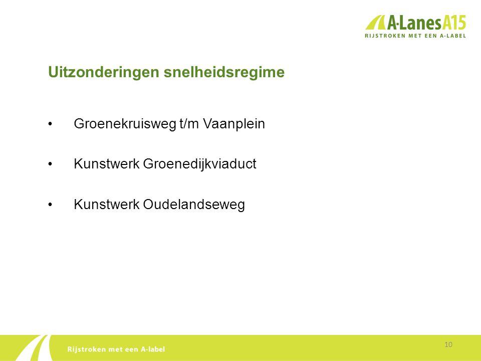 Uitzonderingen snelheidsregime • Groenekruisweg t/m Vaanplein • Kunstwerk Groenedijkviaduct • Kunstwerk Oudelandseweg 10