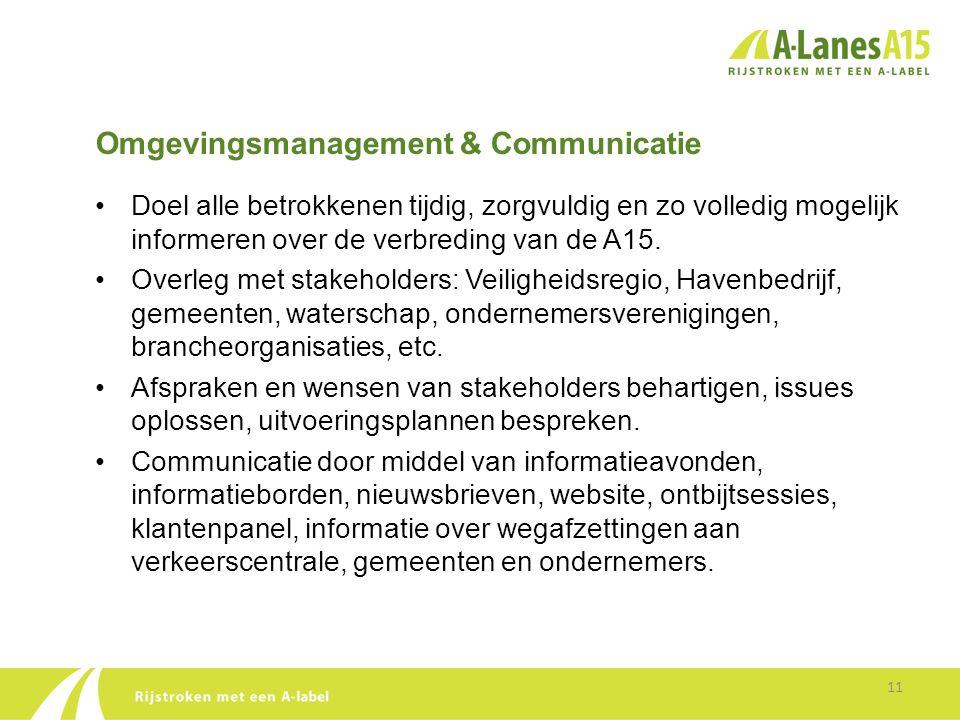 Omgevingsmanagement & Communicatie 11 •Doel alle betrokkenen tijdig, zorgvuldig en zo volledig mogelijk informeren over de verbreding van de A15. •Ove