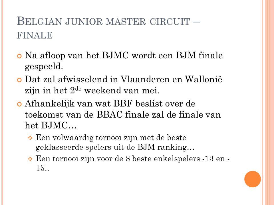 B ELGIAN JUNIOR MASTER CIRCUIT – FINALE Na afloop van het BJMC wordt een BJM finale gespeeld. Dat zal afwisselend in Vlaanderen en Wallonië zijn in he