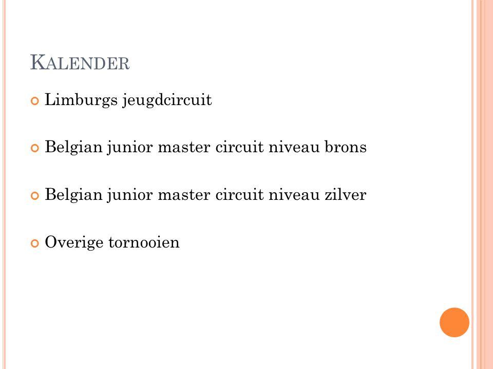 K ALENDER Limburgs jeugdcircuit Belgian junior master circuit niveau brons Belgian junior master circuit niveau zilver Overige tornooien