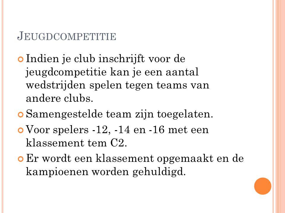 J EUGDCOMPETITIE Indien je club inschrijft voor de jeugdcompetitie kan je een aantal wedstrijden spelen tegen teams van andere clubs. Samengestelde te