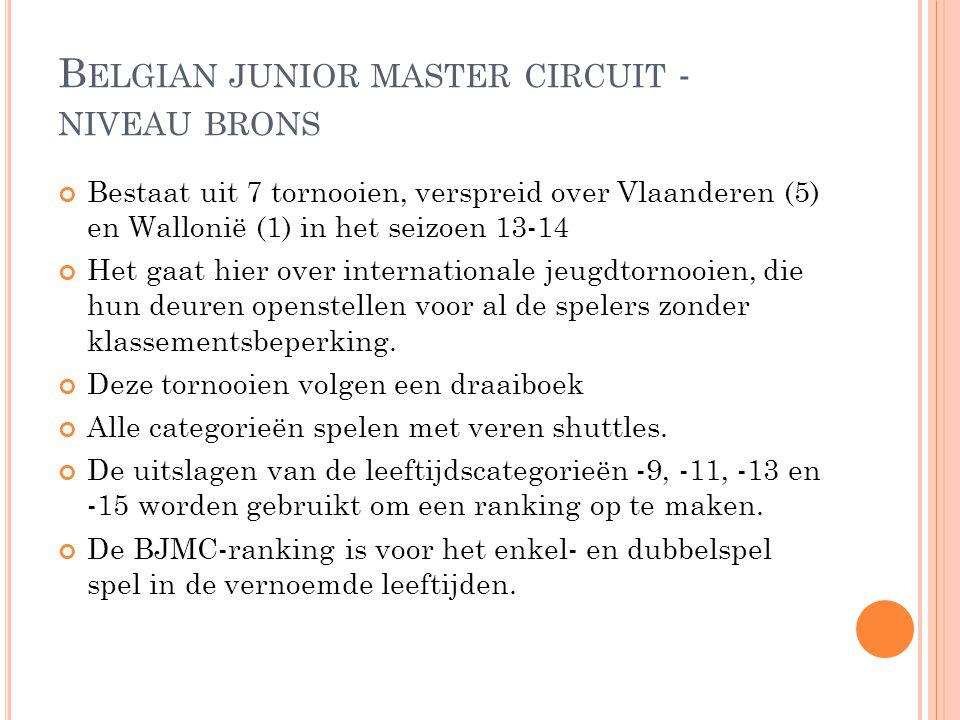 B ELGIAN JUNIOR MASTER CIRCUIT - NIVEAU BRONS Bestaat uit 7 tornooien, verspreid over Vlaanderen (5) en Wallonië (1) in het seizoen 13-14 Het gaat hie
