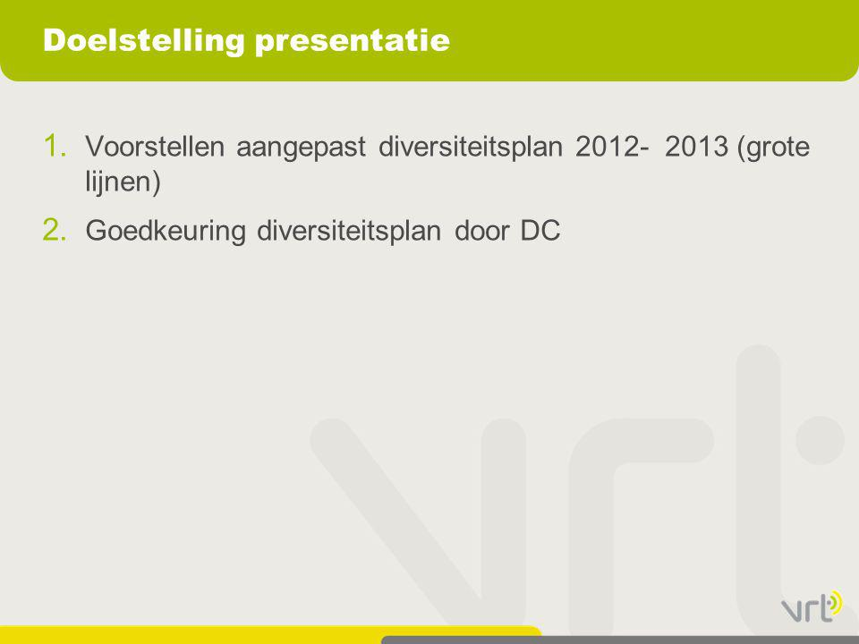 Doelstelling presentatie 1. Voorstellen aangepast diversiteitsplan 2012- 2013 (grote lijnen) 2. Goedkeuring diversiteitsplan door DC