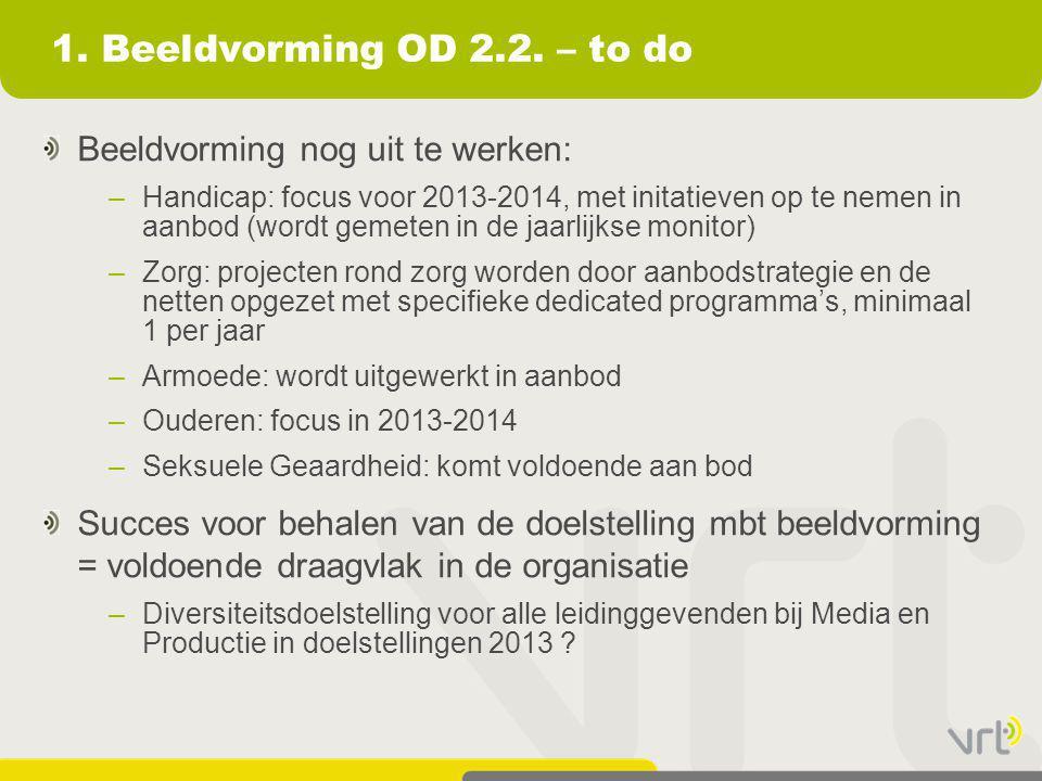 1. Beeldvorming OD 2.2. – to do Beeldvorming nog uit te werken: –Handicap: focus voor 2013-2014, met initatieven op te nemen in aanbod (wordt gemeten