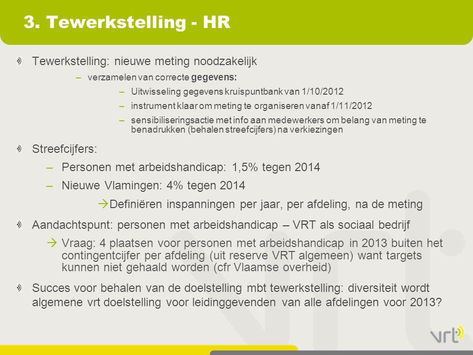 3. Tewerkstelling - HR Tewerkstelling: nieuwe meting noodzakelijk –verzamelen van correcte gegevens: –Uitwisseling gegevens kruispuntbank van 1/10/201