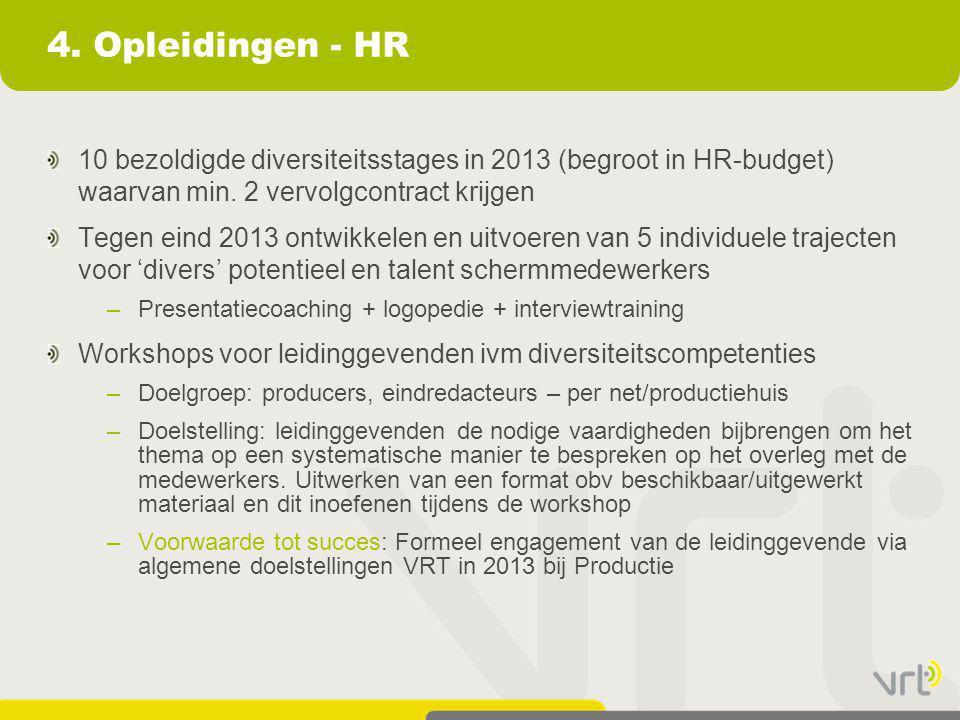 4. Opleidingen - HR 10 bezoldigde diversiteitsstages in 2013 (begroot in HR-budget) waarvan min. 2 vervolgcontract krijgen Tegen eind 2013 ontwikkelen