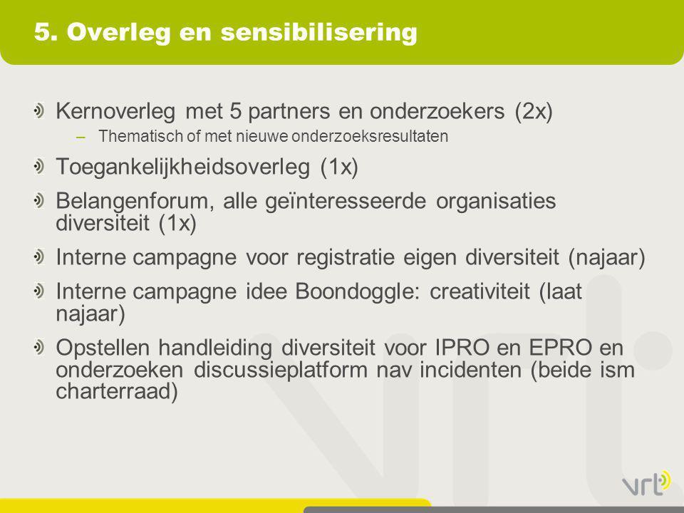 5. Overleg en sensibilisering Kernoverleg met 5 partners en onderzoekers (2x) –Thematisch of met nieuwe onderzoeksresultaten Toegankelijkheidsoverleg