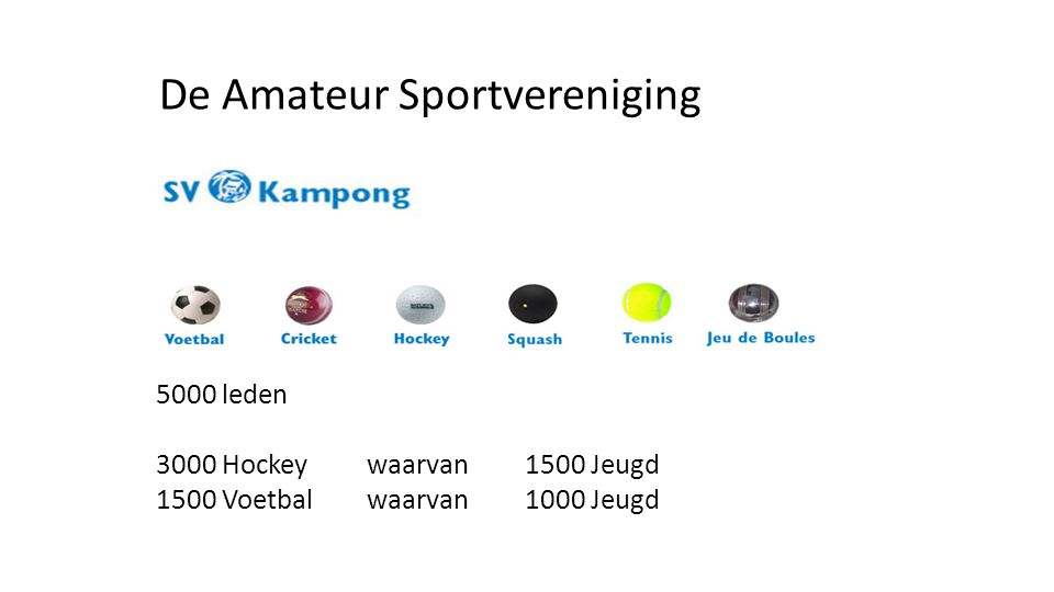5000 leden 3000 Hockey waarvan 1500 Jeugd 1500 Voetbal waarvan 1000 Jeugd De Amateur Sportvereniging