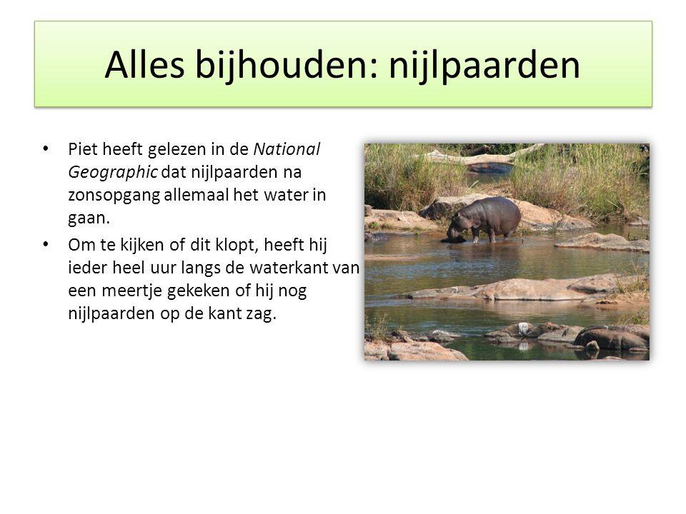 Alles bijhouden: nijlpaarden • Piet heeft gelezen in de National Geographic dat nijlpaarden na zonsopgang allemaal het water in gaan. • Om te kijken o
