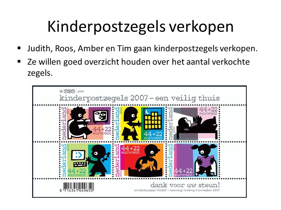 Kinderpostzegels verkopen  Judith, Roos, Amber en Tim gaan kinderpostzegels verkopen.  Ze willen goed overzicht houden over het aantal verkochte zeg