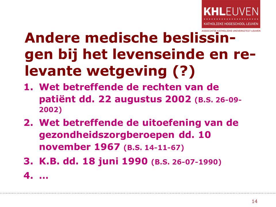 Andere medische beslissin- gen bij het levenseinde en re- levante wetgeving (?) 1.Wet betreffende de rechten van de patiënt dd. 22 augustus 2002 (B.S.