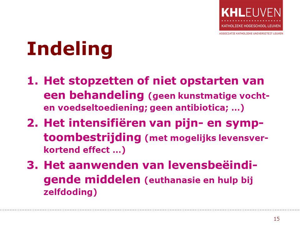 Indeling 1.Het stopzetten of niet opstarten van een behandeling (geen kunstmatige vocht- en voedseltoediening; geen antibiotica; …) 2.Het intensifiëre