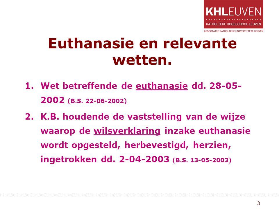 Euthanasie en relevante wetten. 1.Wet betreffende de euthanasie dd. 28-05- 2002 (B.S. 22-06-2002) 2.K.B. houdende de vaststelling van de wijze waarop