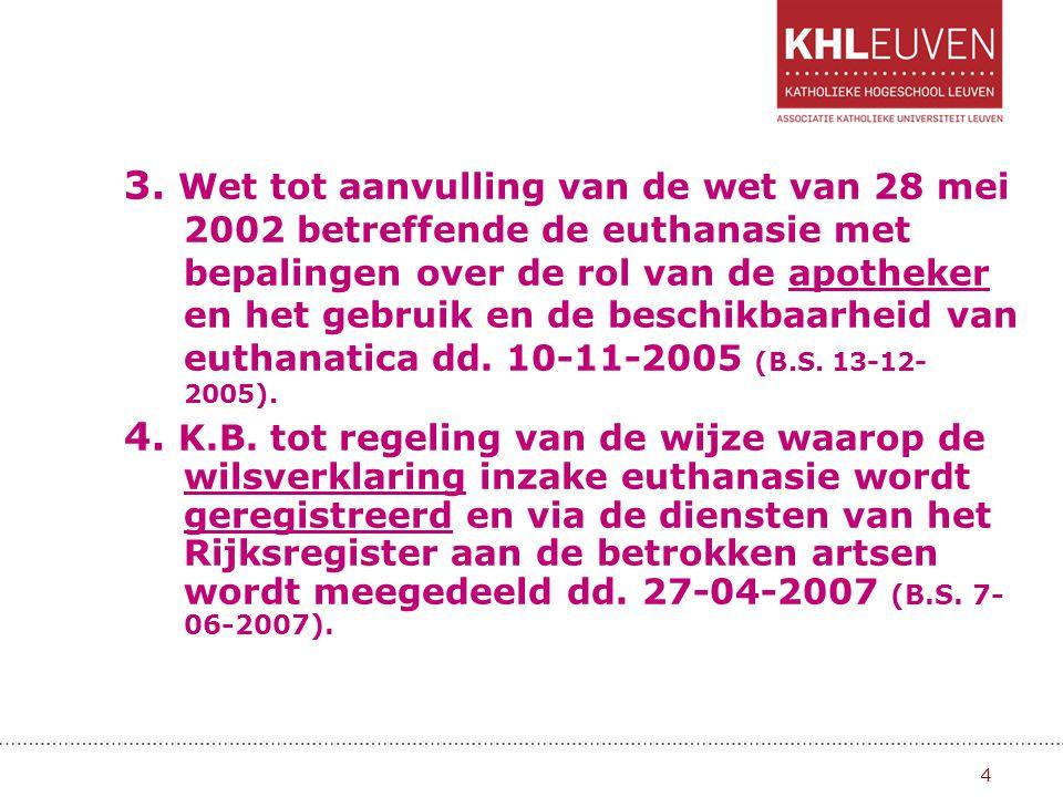 Indeling 1.Het stopzetten of niet opstarten van een behandeling (geen kunstmatige vocht- en voedseltoediening; geen antibiotica; …) 2.Het intensifiëren van pijn- en symp- toombestrijding (met mogelijks levensver- kortend effect …) 3.Het aanwenden van levensbeëindi- gende middelen (euthanasie en hulp bij zelfdoding) 15