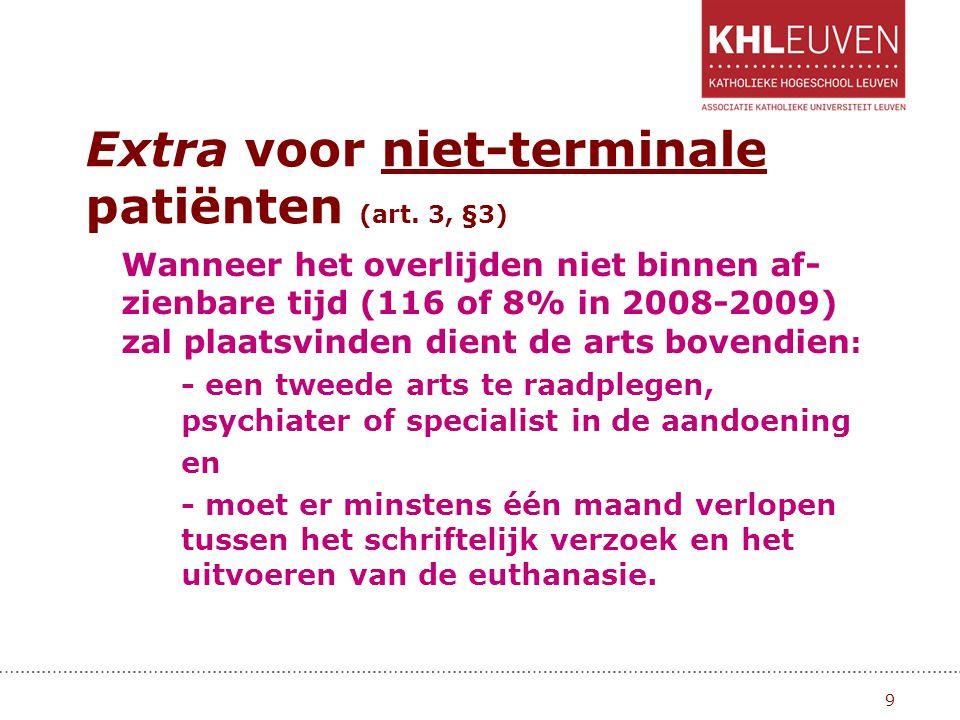Extra voor niet-terminale patiënten (art. 3, §3) Wanneer het overlijden niet binnen af- zienbare tijd (116 of 8% in 2008-2009) zal plaatsvinden dient