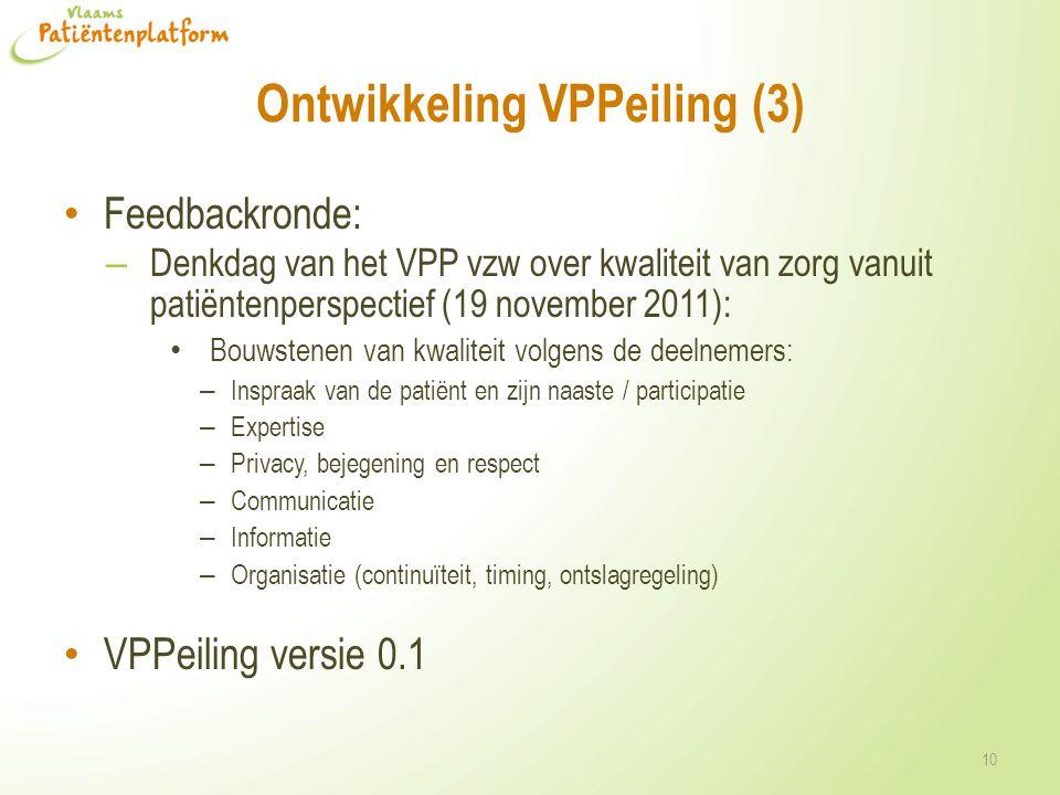 Ontwikkeling VPPeiling (3) • Feedbackronde: – Denkdag van het VPP vzw over kwaliteit van zorg vanuit patiëntenperspectief (19 november 2011): • Bouwst