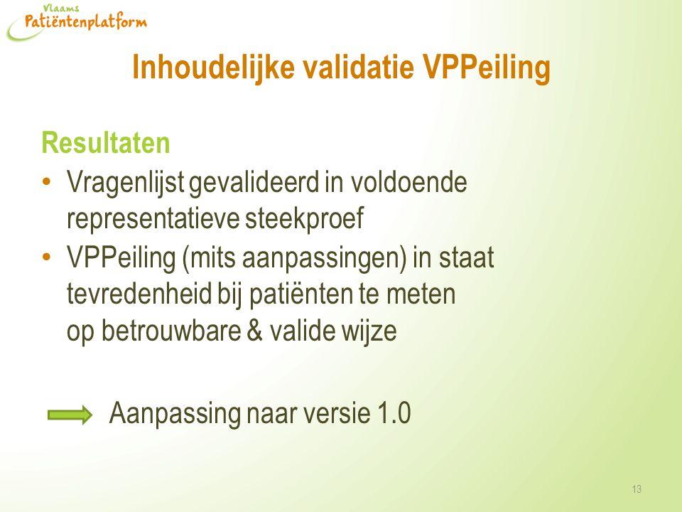 Inhoudelijke validatie VPPeiling Resultaten • Vragenlijst gevalideerd in voldoende representatieve steekproef • VPPeiling (mits aanpassingen) in staat