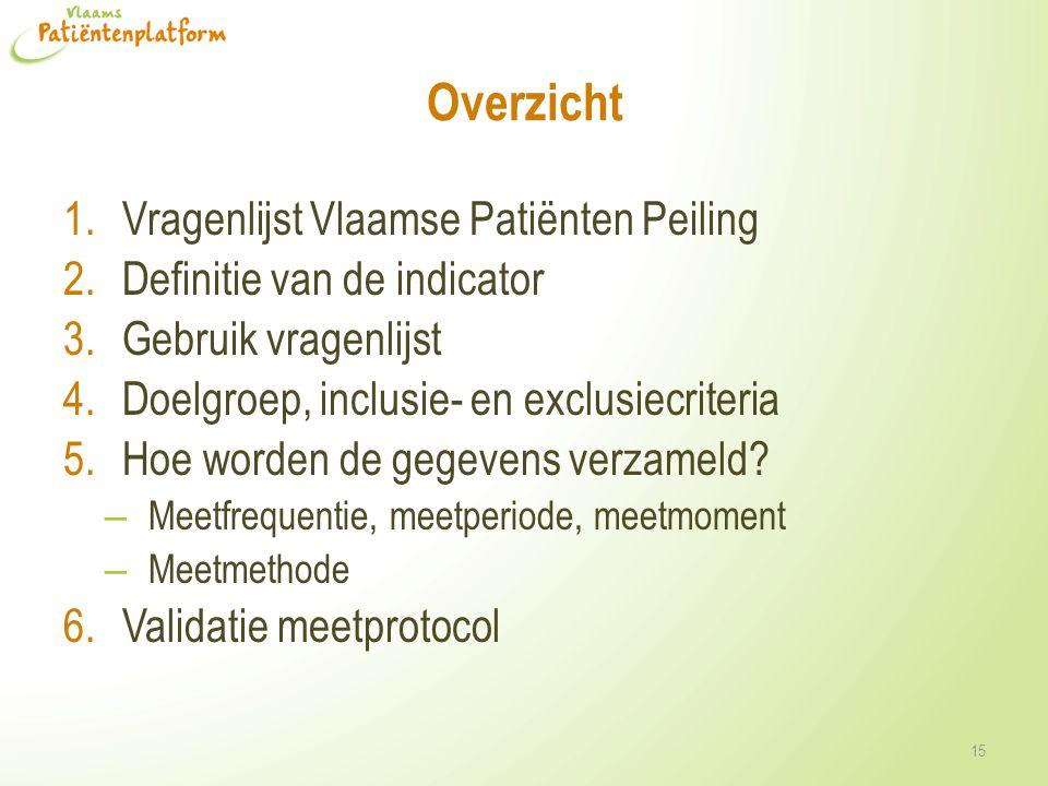 Overzicht 1.Vragenlijst Vlaamse Patiënten Peiling 2.Definitie van de indicator 3.Gebruik vragenlijst 4.Doelgroep, inclusie- en exclusiecriteria 5.Hoe