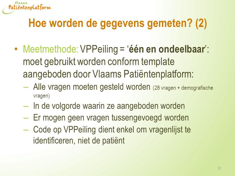Hoe worden de gegevens gemeten? (2) • Meetmethode: VPPeiling = ' één en ondeelbaar ': moet gebruikt worden conform template aangeboden door Vlaams Pat