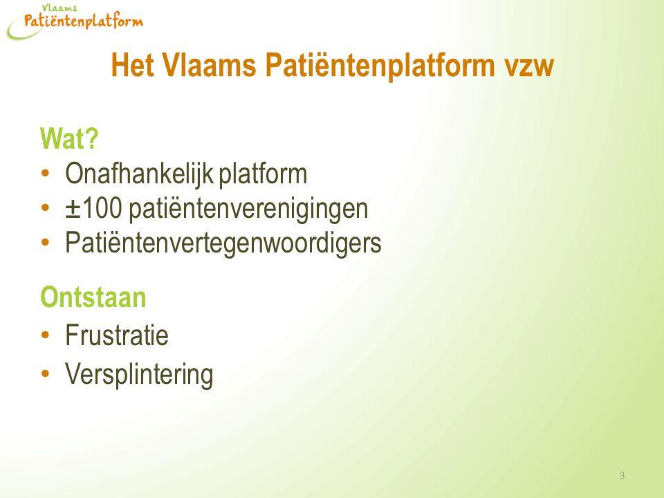 Het Vlaams Patiëntenplatform vzw Wat? • Onafhankelijk platform • ±100 patiëntenverenigingen • Patiëntenvertegenwoordigers Ontstaan • Frustratie • Vers