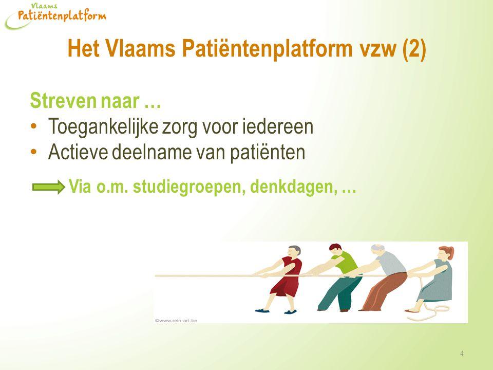 Het Vlaams Patiëntenplatform vzw (2) Streven naar … • Toegankelijke zorg voor iedereen • Actieve deelname van patiënten Via o.m. studiegroepen, denkda
