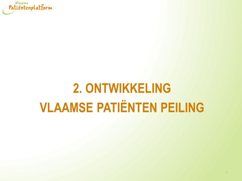 Ontwikkeling VPPeiling • Doelstelling: patiënten ervaringen en patiënttevredenheid meten vanuit het perspectief van de patiënt • Analyse van bestaande vragenlijsten • Eerste selectie van items o.b.v.
