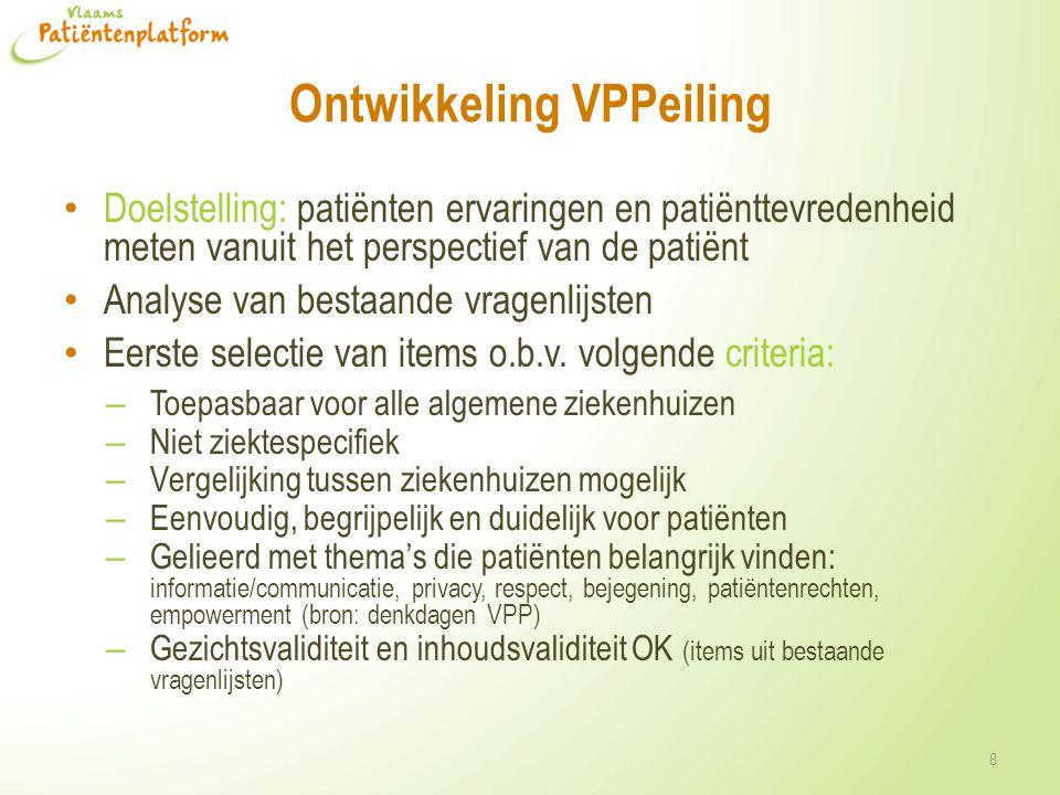 Ontwikkeling VPPeiling • Doelstelling: patiënten ervaringen en patiënttevredenheid meten vanuit het perspectief van de patiënt • Analyse van bestaande