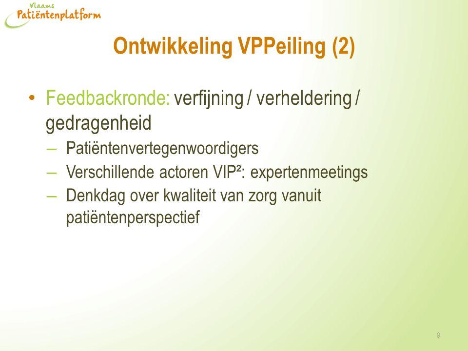 Ontwikkeling VPPeiling (2) • Feedbackronde: verfijning / verheldering / gedragenheid – Patiëntenvertegenwoordigers – Verschillende actoren VIP²: exper
