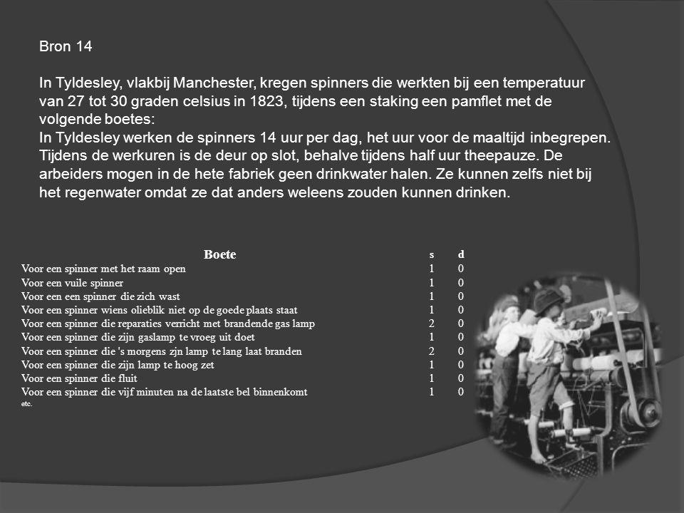 Bron 15 Kinderarbeid in de fabriek van Richard Arkwright Om de machines van Arkwright te bedienen waren slechts weinig mensen nodig, en dan nog alleen kinderen, geassisteerd dor een opzichter.