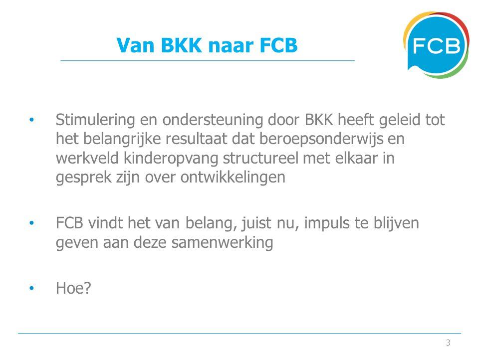 Van BKK naar FCB • Stimulering en ondersteuning door BKK heeft geleid tot het belangrijke resultaat dat beroepsonderwijs en werkveld kinderopvang structureel met elkaar in gesprek zijn over ontwikkelingen • FCB vindt het van belang, juist nu, impuls te blijven geven aan deze samenwerking • Hoe.