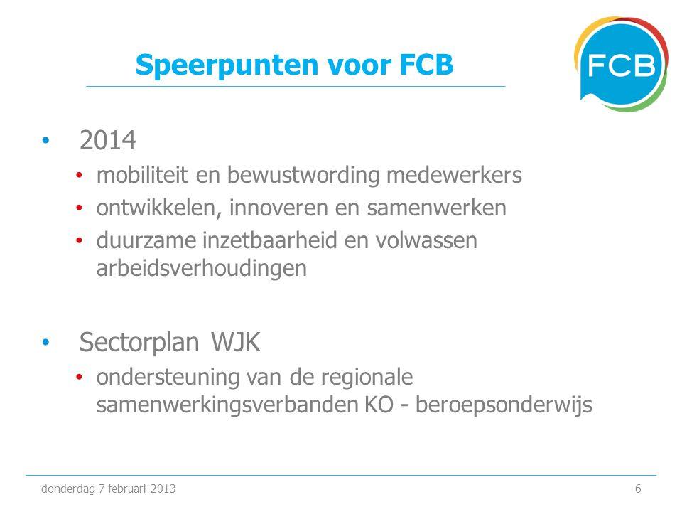 Speerpunten voor FCB • 2014 • mobiliteit en bewustwording medewerkers • ontwikkelen, innoveren en samenwerken • duurzame inzetbaarheid en volwassen arbeidsverhoudingen • Sectorplan WJK • ondersteuning van de regionale samenwerkingsverbanden KO - beroepsonderwijs donderdag 7 februari 20136