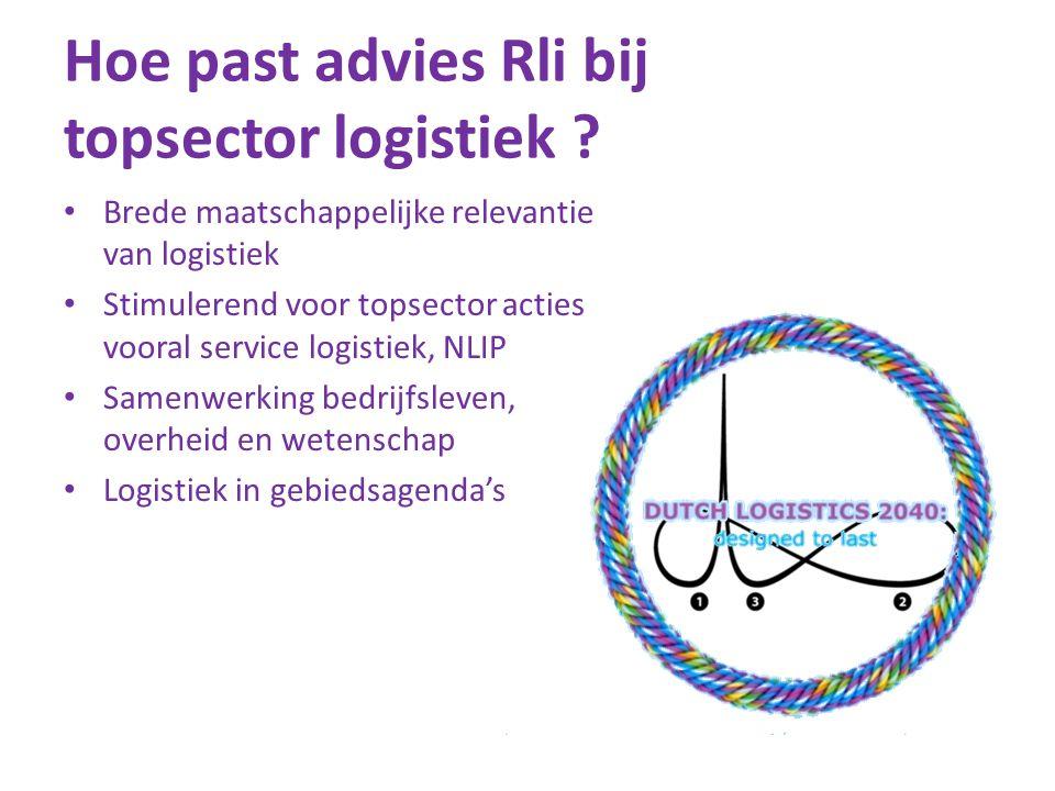 Hoe past advies Rli bij topsector logistiek ? • Brede maatschappelijke relevantie van logistiek • Stimulerend voor topsector acties vooral service log