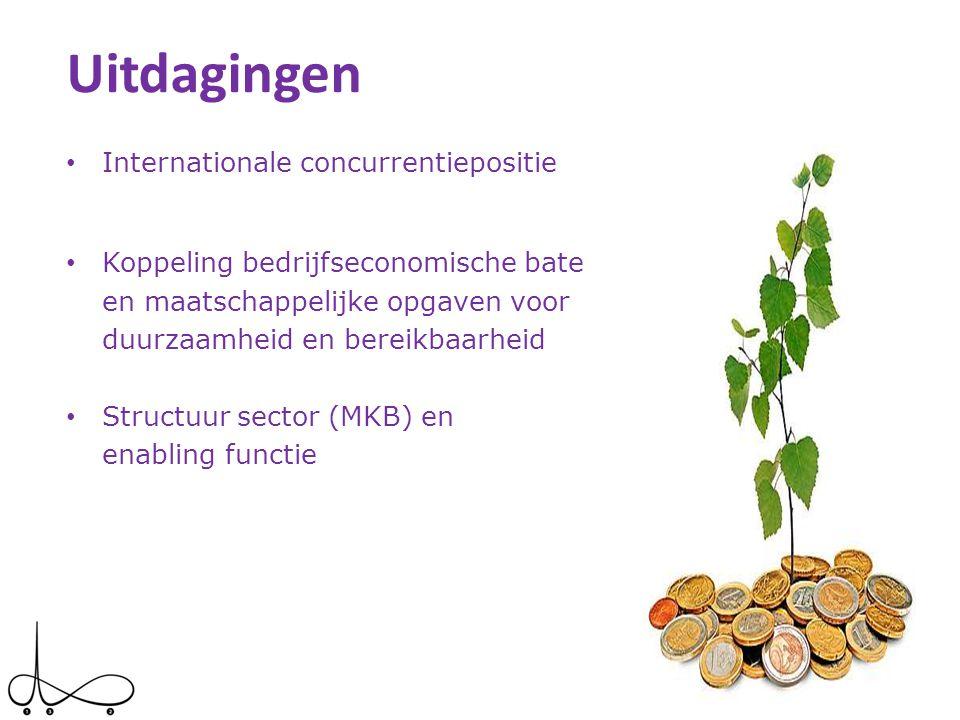Uitdagingen • Internationale concurrentiepositie • Koppeling bedrijfseconomische baten en maatschappelijke opgaven voor duurzaamheid en bereikbaarheid