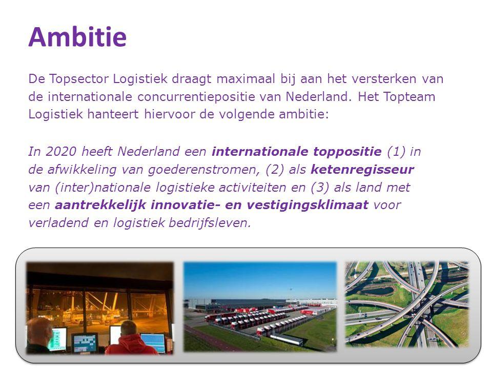 Actielijnen Nederland als één samenhangend logistiek systeem 1.Neutraal Logistiek Informatie Platform (RoadMap) 2.Synchromodaal transportsysteem (RM) 3.Samenwerking Nederlandse zeehavens 4.Kernnetwerk van (inter)nationale verbindingen en multimodale knooppunten 5.Trade compliance and control (RM) Ketenregie 6.Cross Chain Control Centers (RM) en service logistiek (RM) 7.Supply Chain Finance (RM) 8.Internationale allianties en buitenlandpromotie Innovatie- en vestigingsklimaat 9.Vereenvoudigen wet- en regelgeving 10.Human capital agenda 11.Eén nationale kennis- en innovatieagenda logistiek 7