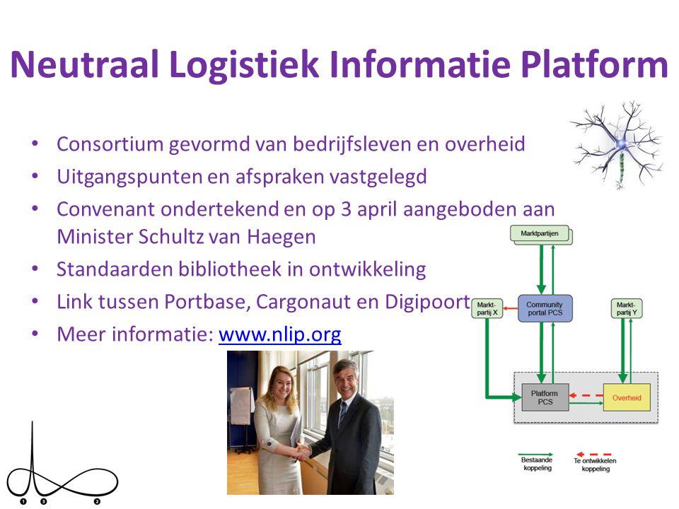 Neutraal Logistiek Informatie Platform • Consortium gevormd van bedrijfsleven en overheid • Uitgangspunten en afspraken vastgelegd • Convenant onderte