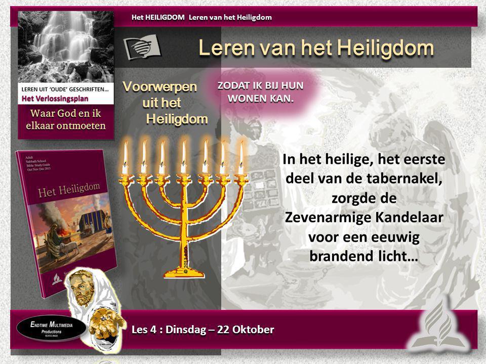 In het heilige, het eerste deel van de tabernakel, zorgde de Zevenarmige Kandelaar voor een eeuwig brandend licht… In het heilige, het eerste deel van