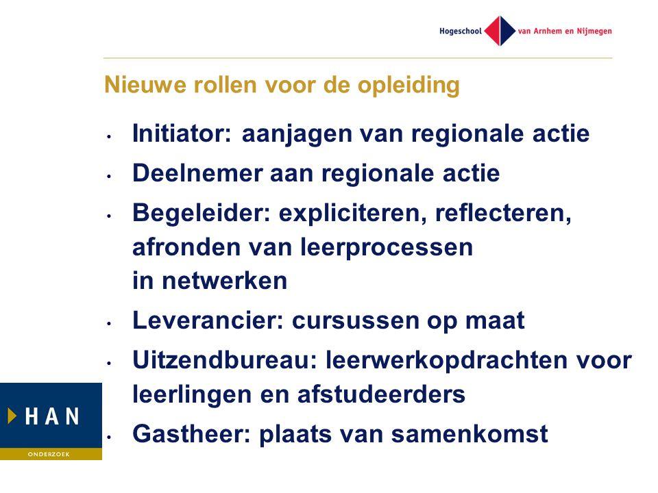 Nieuwe rollen voor de opleiding • Initiator: aanjagen van regionale actie • Deelnemer aan regionale actie • Begeleider: expliciteren, reflecteren, afr