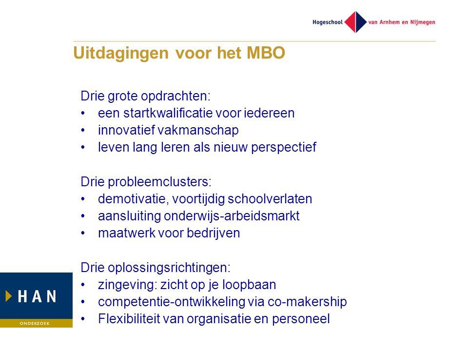 Uitdagingen voor het MBO Drie grote opdrachten: •een startkwalificatie voor iedereen •innovatief vakmanschap •leven lang leren als nieuw perspectief D