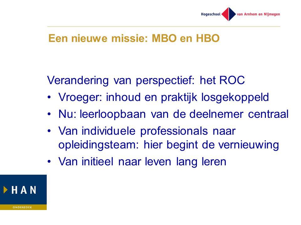 Een nieuwe missie: MBO en HBO Verandering van perspectief: het ROC •Vroeger: inhoud en praktijk losgekoppeld •Nu: leerloopbaan van de deelnemer centraal •Van individuele professionals naar opleidingsteam: hier begint de vernieuwing •Van initieel naar leven lang leren